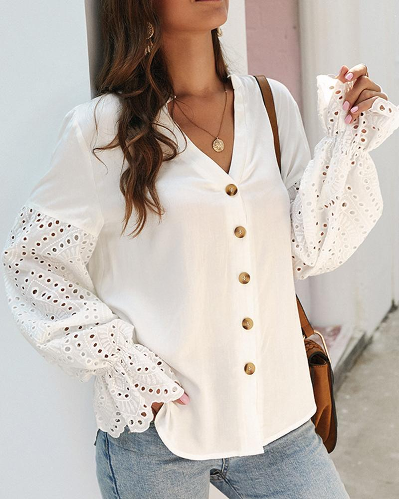Perforated Sleeve V Neck Top
