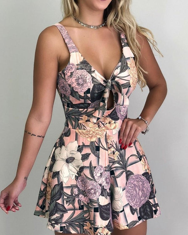 Thin Strap Floral Print Casual Pleated Romper