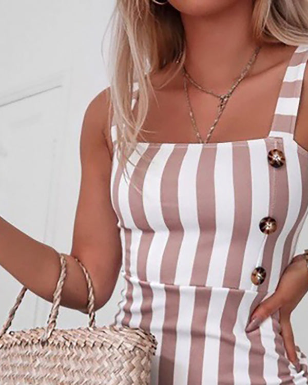 Striped Thin Strap Square Neck Mini Dress