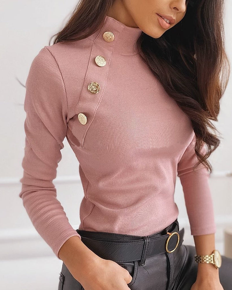 Buttoned Detail Solid Ribbed Design Sweater