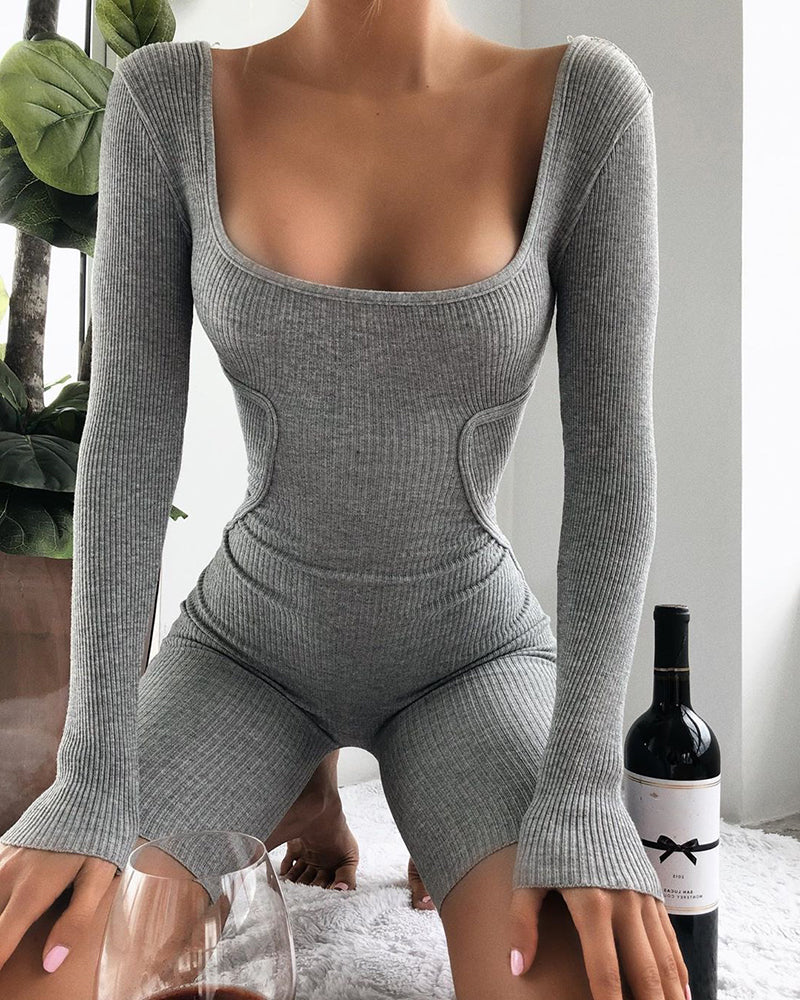 Solid Ribbed Square Neck Long Sleeve Romper