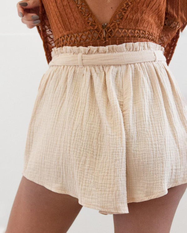 Paperbag Waist Ruched Detail Casual Shorts