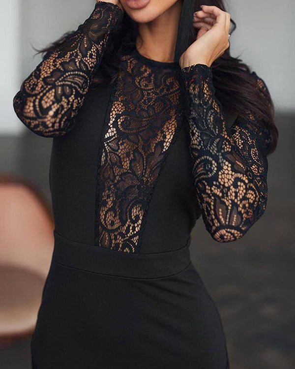 Black Lace Insert Midi Dress