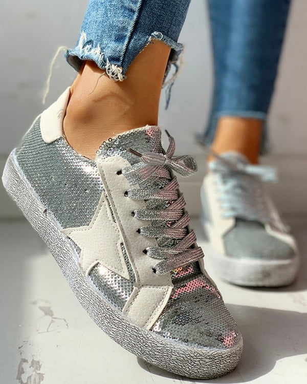 Glitter Colorblock Star Embellished Lace-up Sneakers