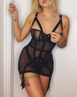 See Through Bandage Babydoll Without Panty