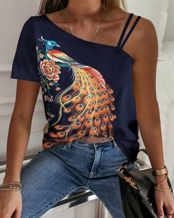 One Shoulder Peacock Print Casual T-shirt