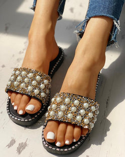 Bead Studded Detail Flat Sandals