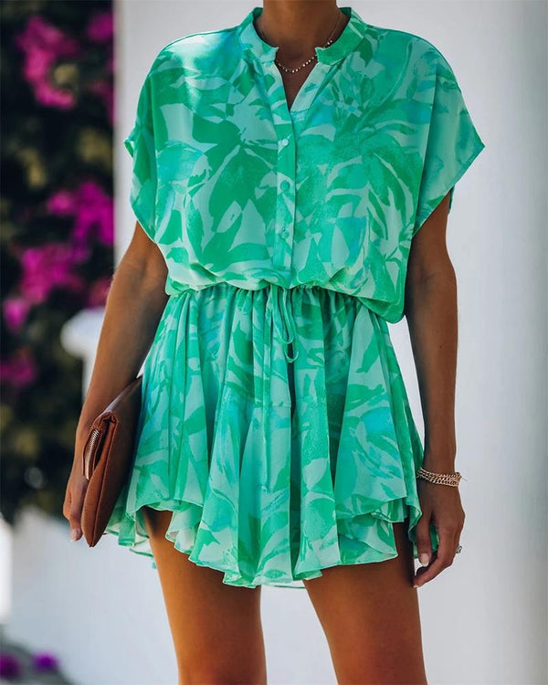 Vegetal Print Mini Shirt Dress