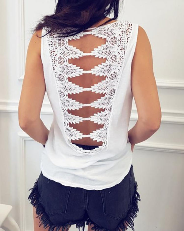 Solid Sleeveless Crochet Hollowed Back Casual Tank Top