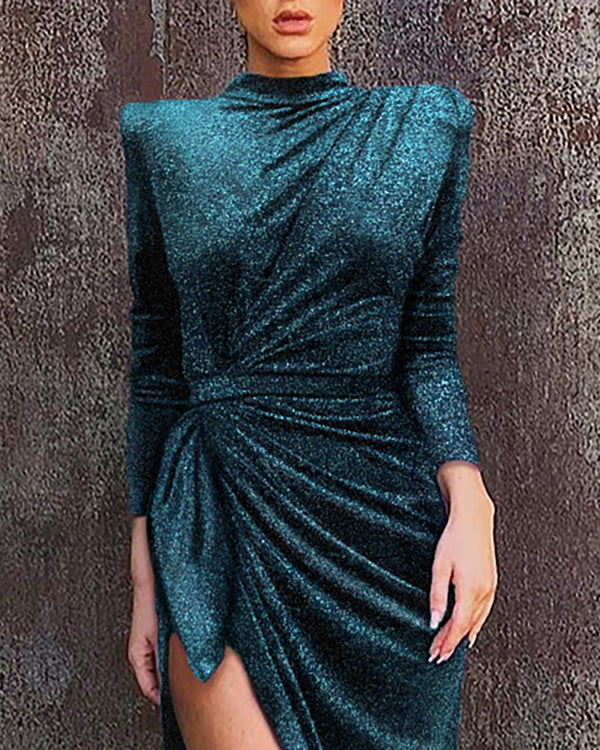 Glitter Mock Neck Long Sleeve High Slit Ruched Dress