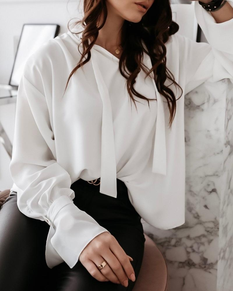 Solid Tied Neck Long Sleeve Shirt