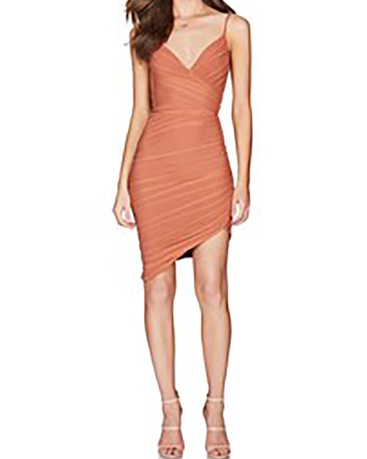 Spaghetti Strap Ruched Irregular Bodycon Dress