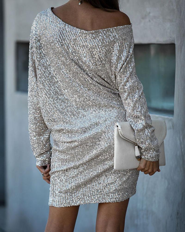 Asymmetric Neck Sequin Mini Dress