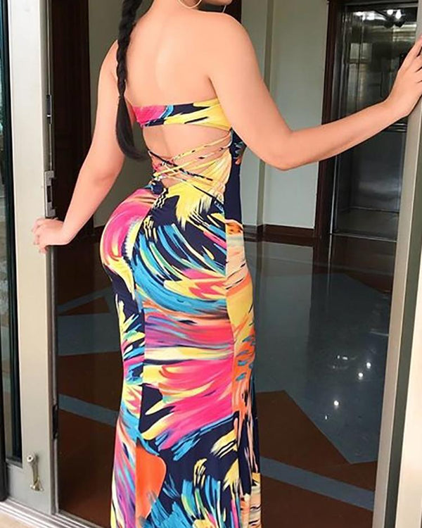 Tie Dye Print Lace-up Open Back Strapless Maxi Dress