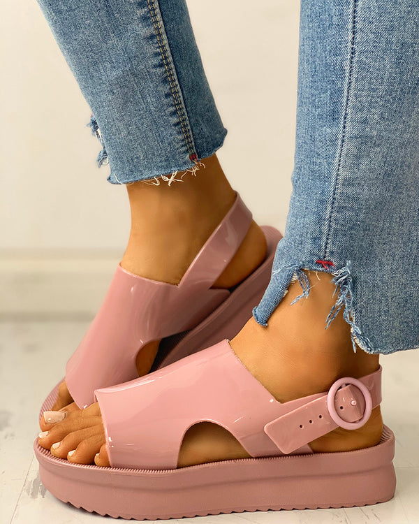 Solid Ankle Buckled  Muffin Sandals