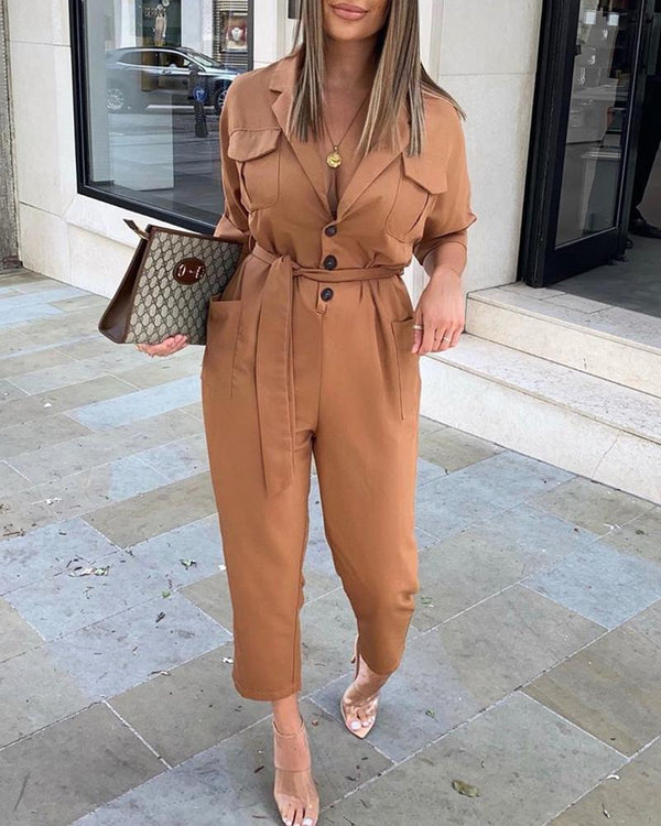 Brief Solid Belt Cargo Jumpsuits