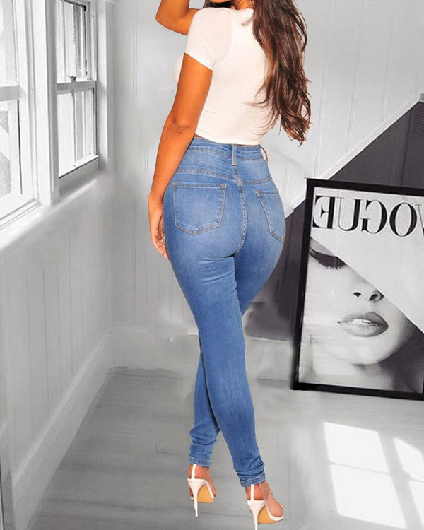 High Waist Pocket Casual Jeans