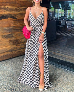 Deep V High Slit Polka Dot Maxi Dress