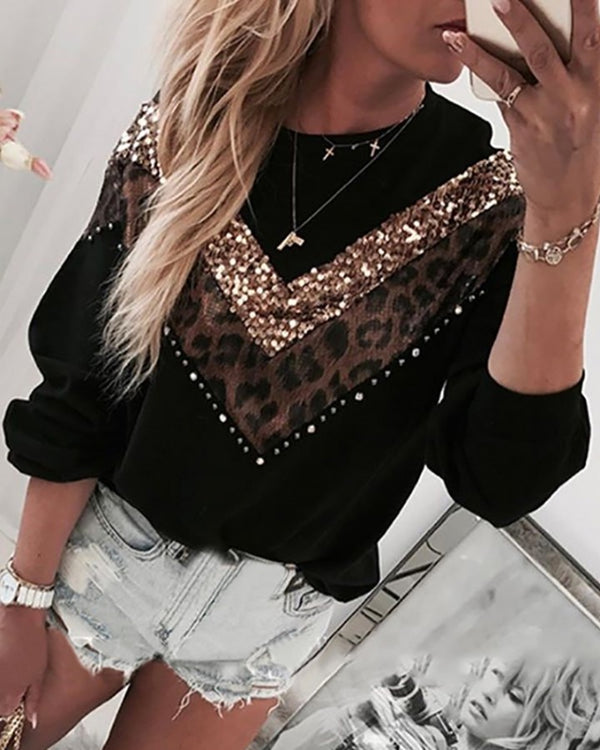 Leopard Sequins Colorblock Insert Casual Blouse