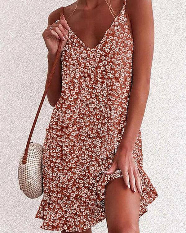 Floral Print V-Neck Mini Dress