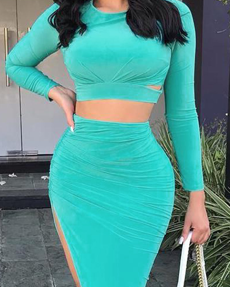 Long Sleeve Ruched Top & Slit Skirt Sets