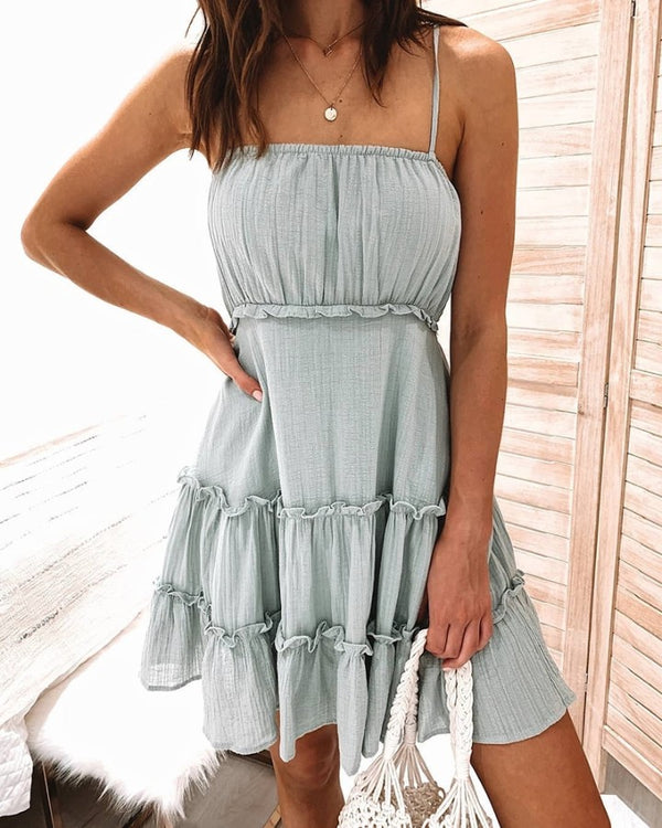 Solid Spaghetti Strap Ruched Dress
