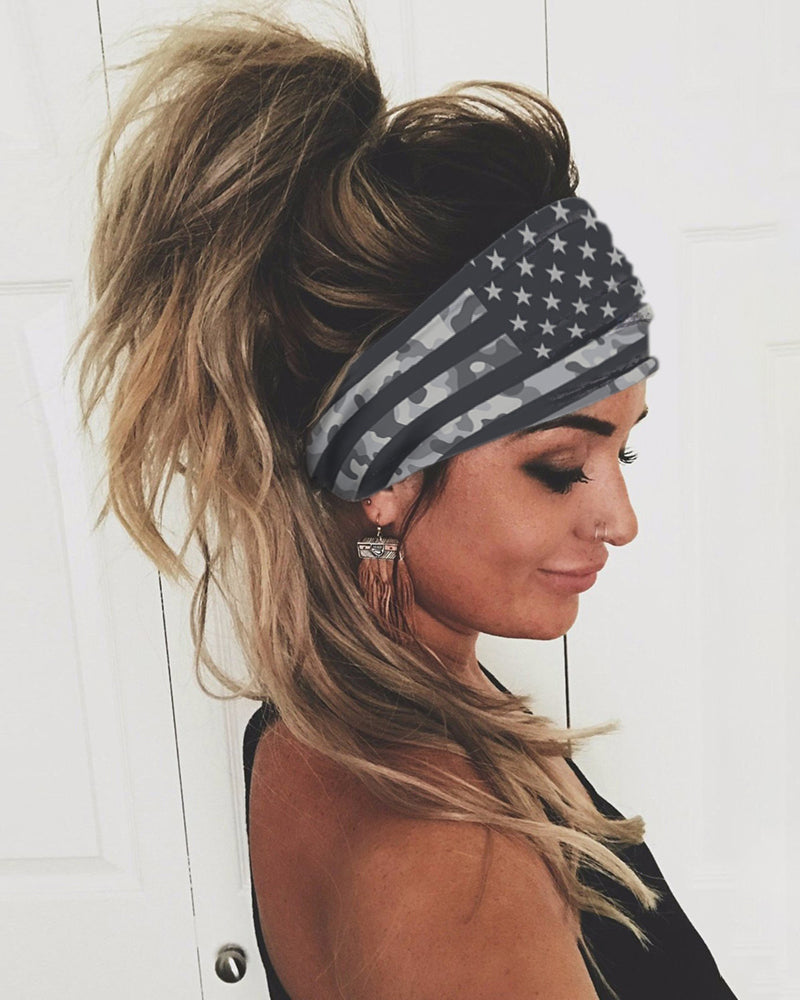 Flag Print Yoga Running Elastic Headwraps Hair Band