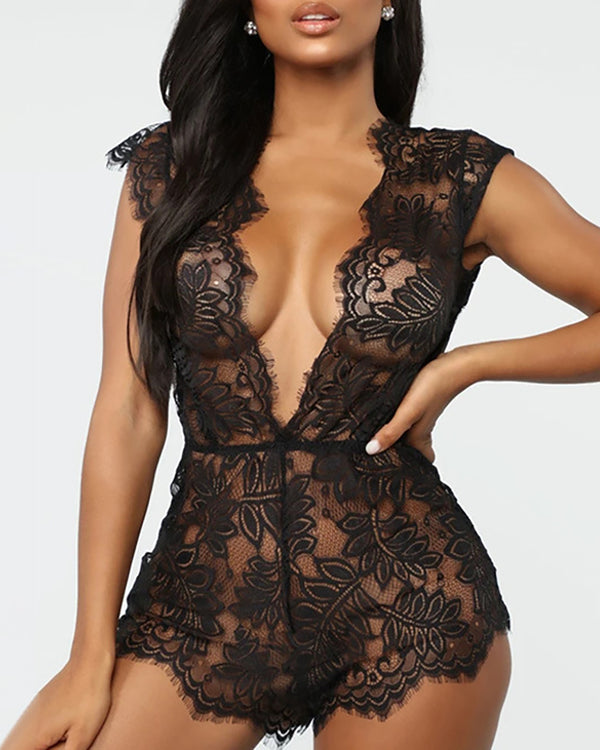 Plunge Lace Insert See Through Teddy