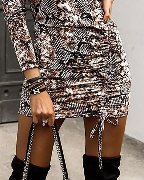 Leopard And Snakeskin Long Sleeve Bodycon Dress