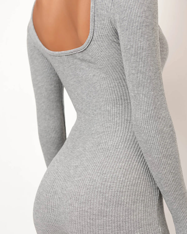 Ribbed Square Neck Long Sleeve Biker Romper