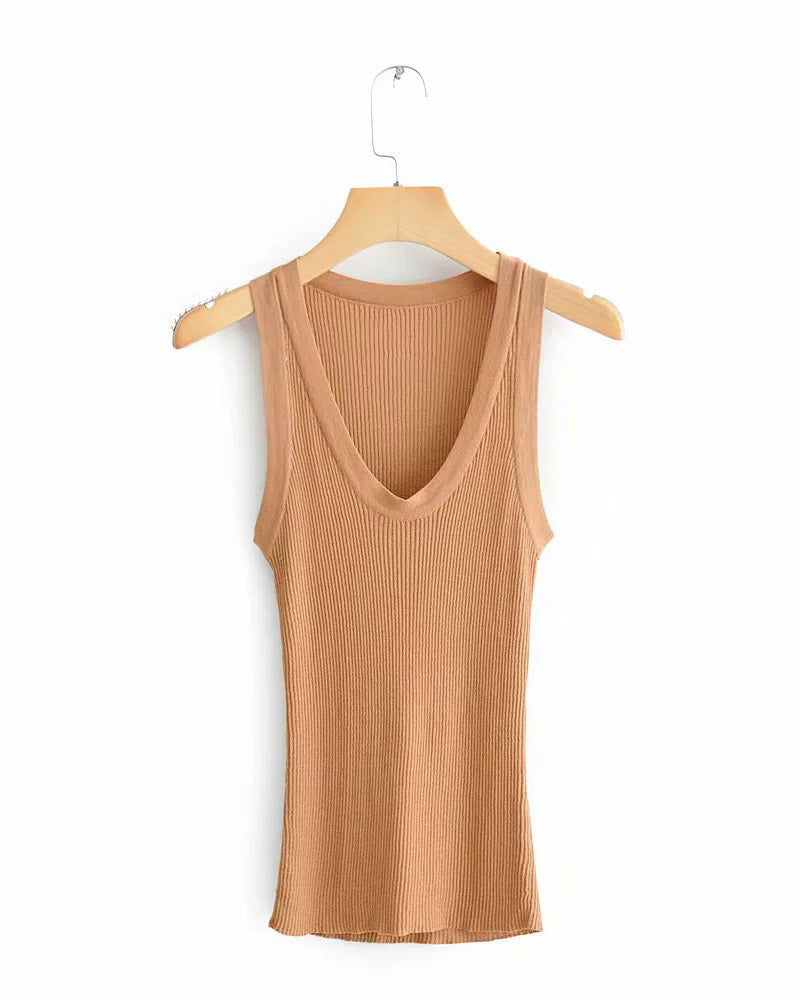 Solid Sleeveless Ribbed Casual Top