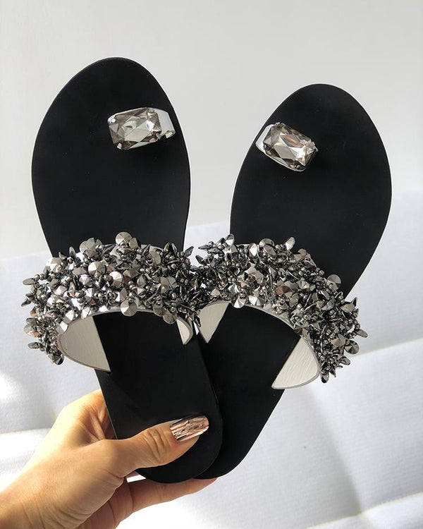 Womens Shiny Toe Ring Flat Sandals
