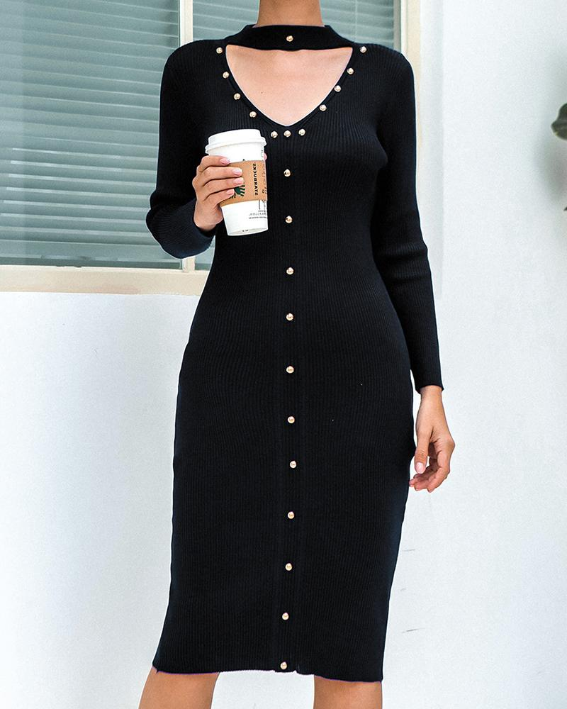 Round Neck Cut Out Bodycon Midi Dress