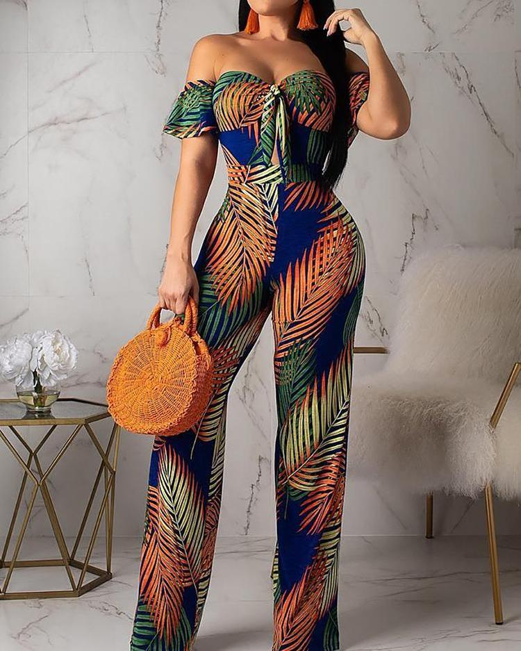 Off Shoulder Tropical Print Knotted Jumpsuit