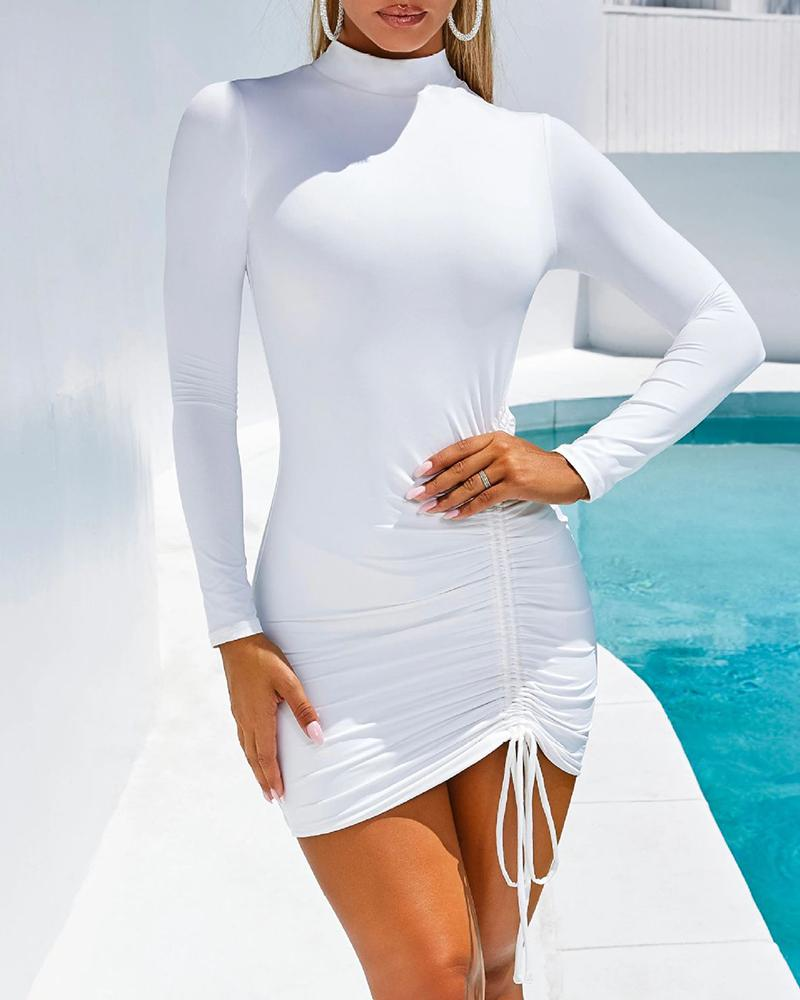 Solid Long Sleeve Drawstring Design Ruched Dress