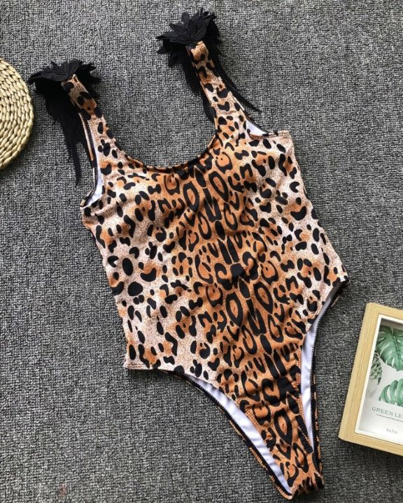 Snakeskin Angel Wing Patch One-Piece Swimsuit