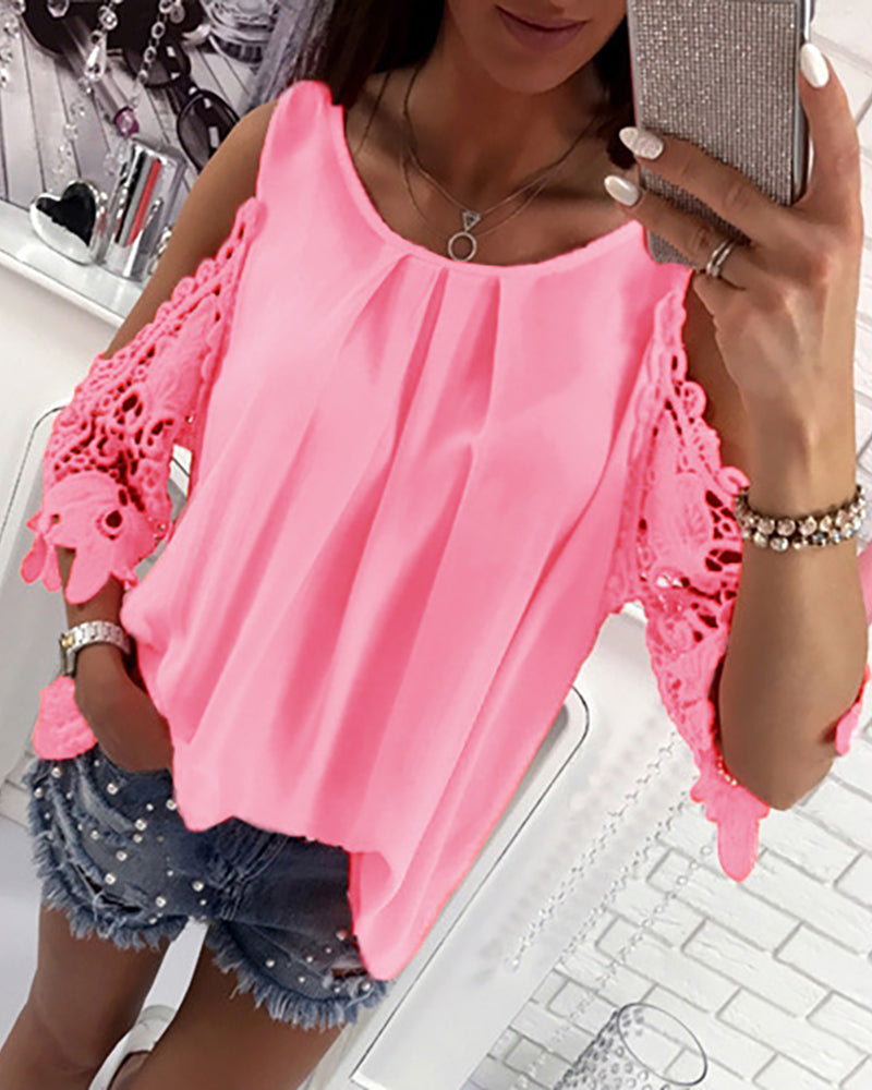 Lace Crochet Cold Shoulder Pleated Blouse
