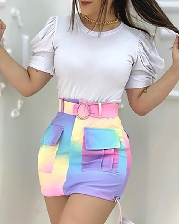 Puffed Sleeve Top & Colorblock Pocket Design Skirt Set