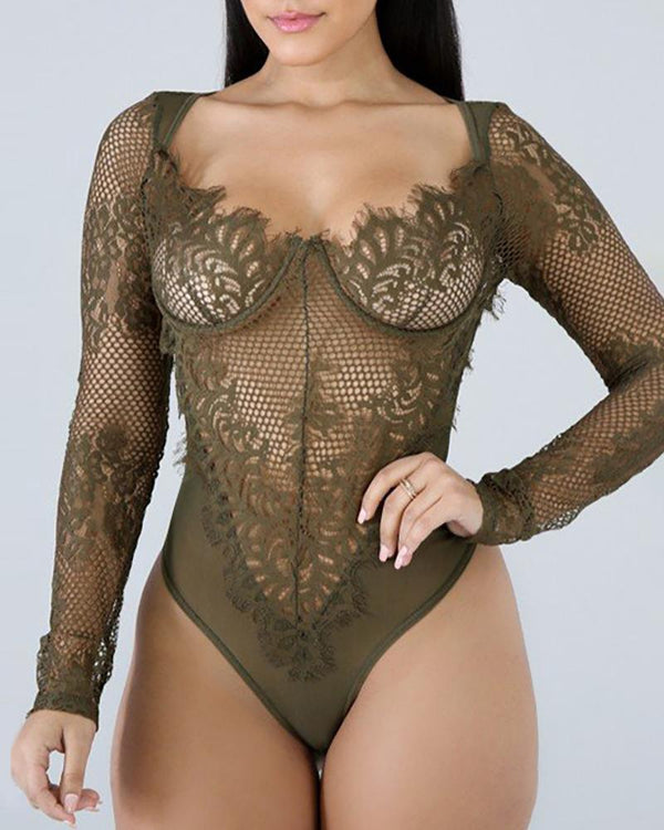 Long Sleeve Eyelash Lace Teddy Lingerie