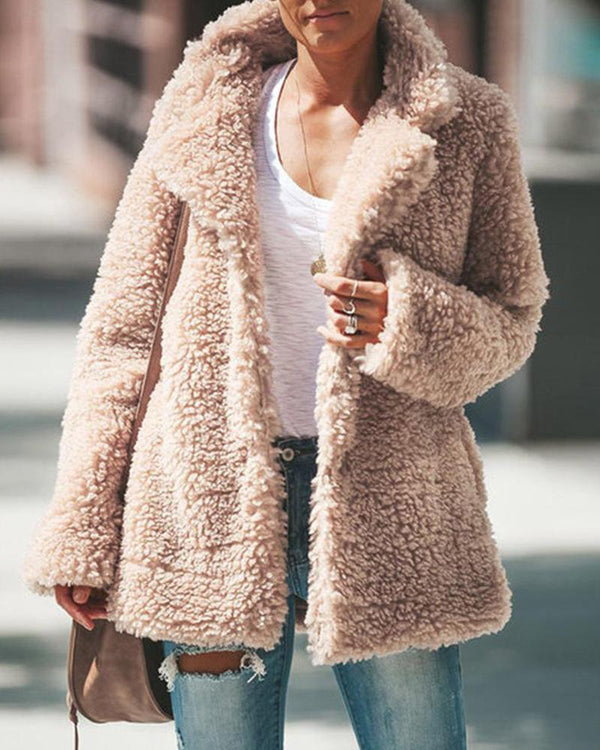 Faux Shearling Pocketed Teddy Coat