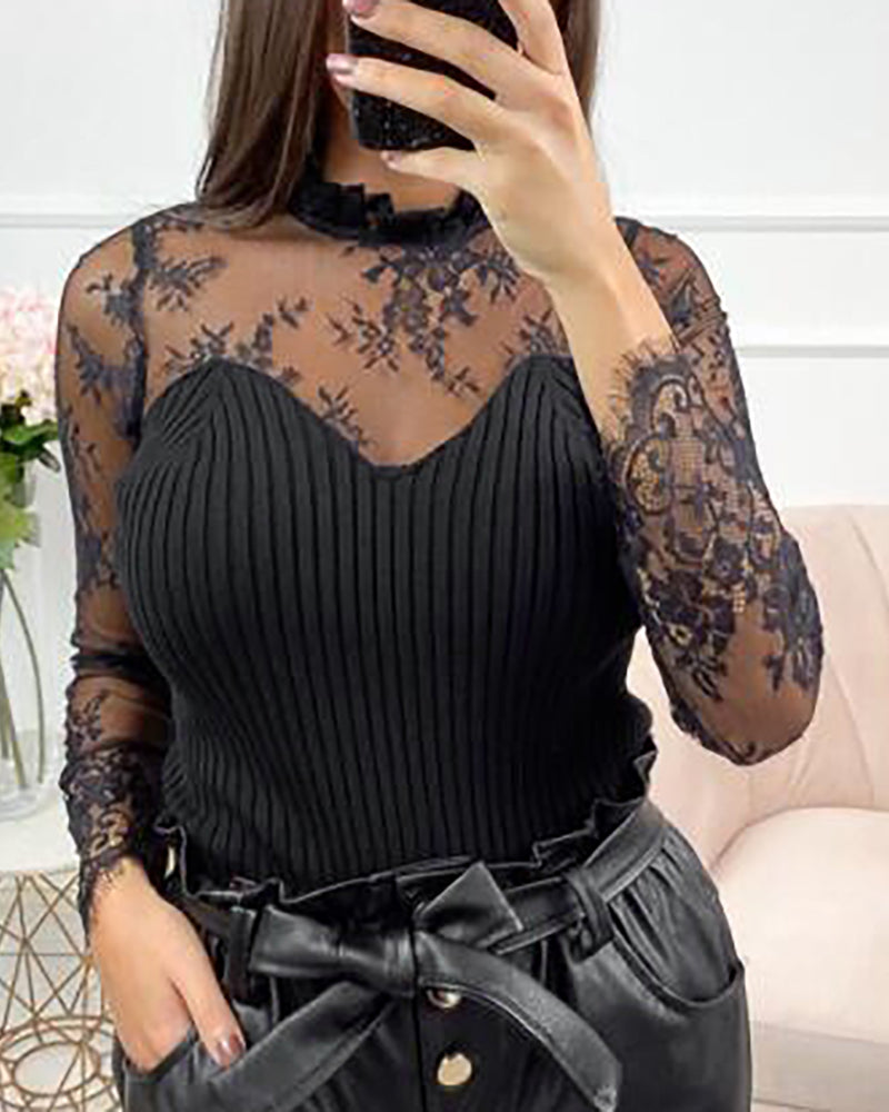 Semi Sheer Mesh Floral Embroidery Blouse