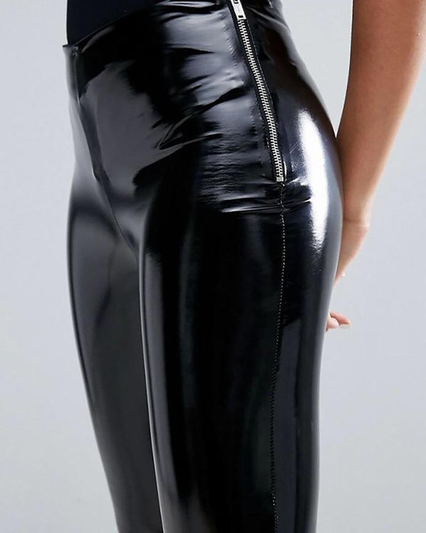 Faux Leather Side Zipper Design Pant