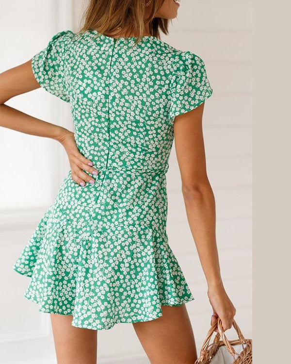 Floral Print Ruffled Skater Dress