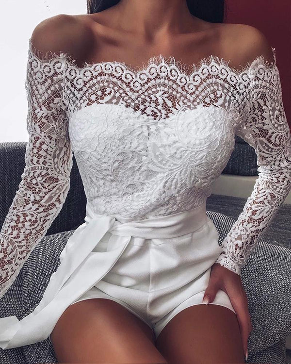 Off Shoulder Scalloped Lace Trim Romper