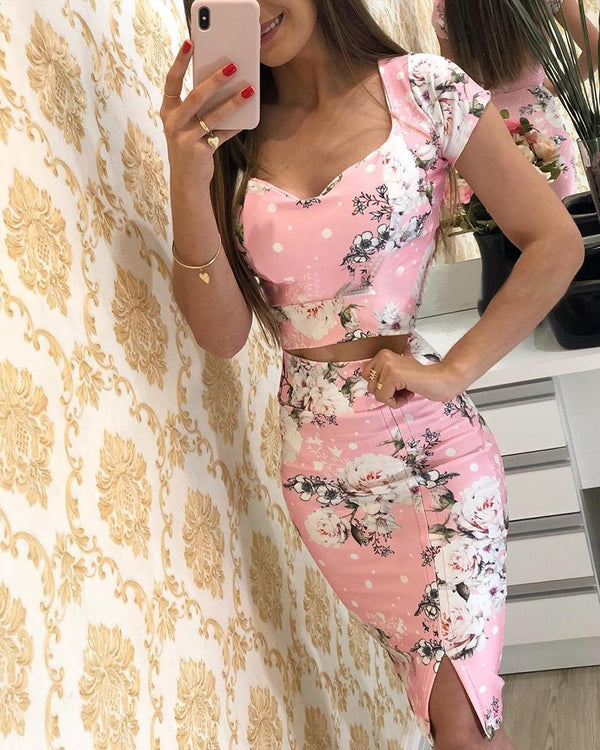 Floral Print Short Sleeve Top & Skirt Sets