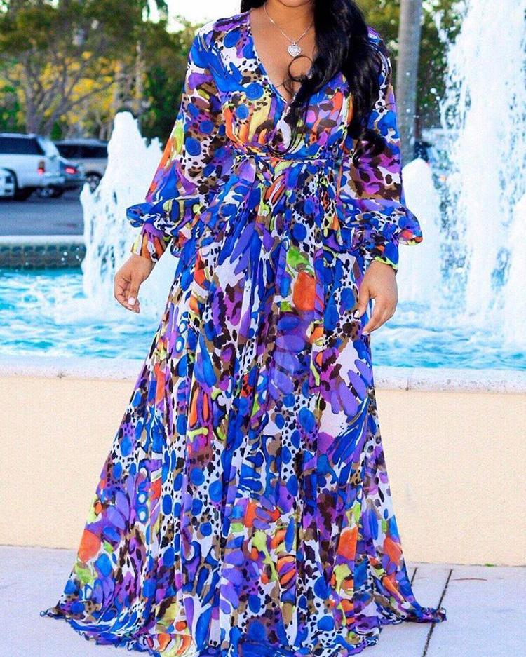 Tropical Print Deep V Belted Warp Maxi Dress