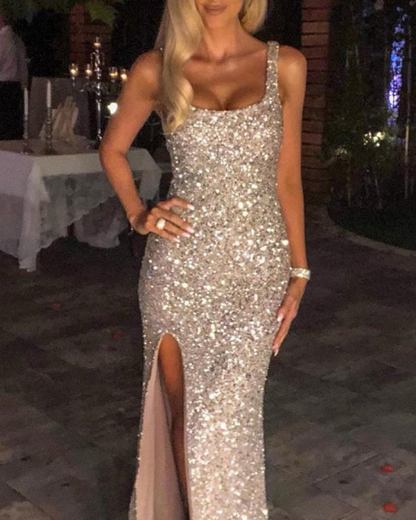 Square Neck Sequined Slit Maxi Dress