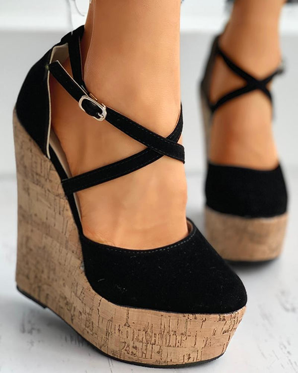 Crisscross Ankle Strap Wedge Platforms Sandals