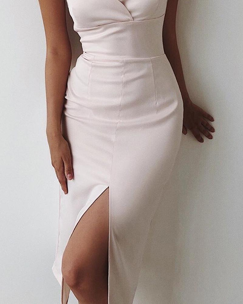 Spaghetti Strap Wrap Front Slit Midi Dress