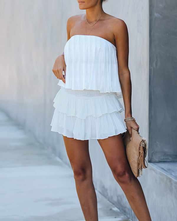 Bandeau Layered Ruffle Cutout Back Playsuit